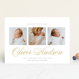 Elegant Trio Birth Announcements