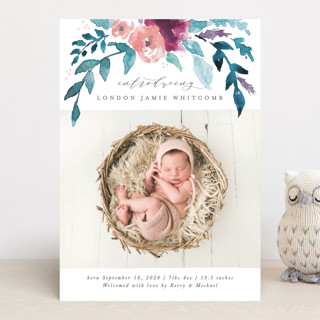 Watercolor Branches Birth Announcements