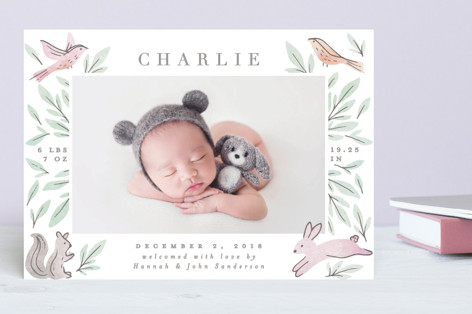 Woodland Frame Birth Announcements