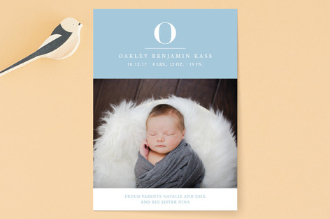 Bold Initial Birth Announcements