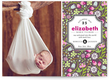 Patterned Label Birth Announcements