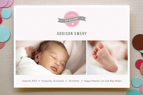 A Sweet Welcome Birth Announcements