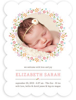 Sweet Floral Garland Birth Announcements