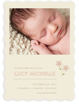Embroidered Florals Birth Announcements