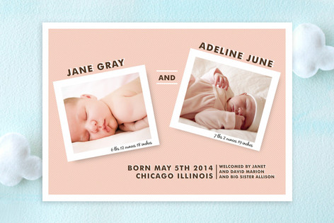For Two Birth Announcements