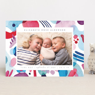 Abstract Watercolor Birth Announcements