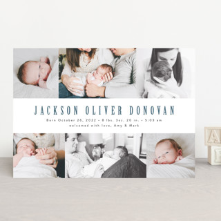 Photo Stripes Birth Announcements