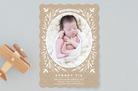 Baby Foliage Frame Birth Announcements
