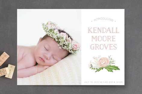 Sweet Floral Bouquet Birth Announcements