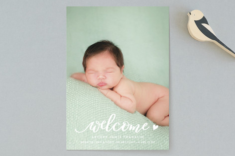 Welcoming heart Birth Announcements