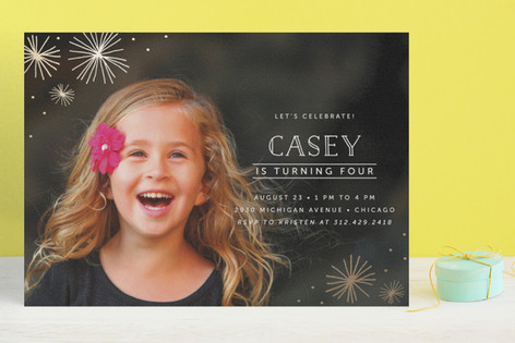 Simple Stars Foil-Pressed Children's Birthday Party Invitations