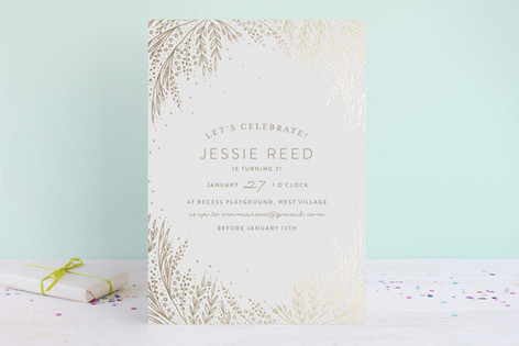 Botanical Filigree Foil-Pressed Children's Birthday Party Invitations