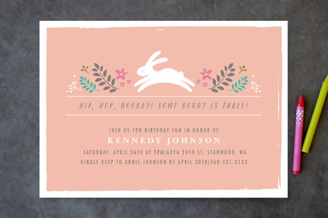 Bunny in the Forest Children's Birthday Party Invitations