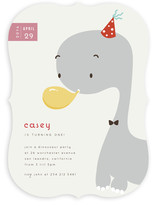 Blowing Balloon Brontosaurus Children&#039;s Birthday Party Invitations