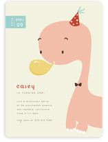 Blowing Balloon Brontosaurus Children's Birthday Party Invitations