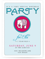Girly Elephant Children's Birthday Party Invitations