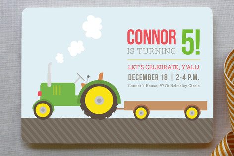 Tractor Time Children's Birthday Party Invitations