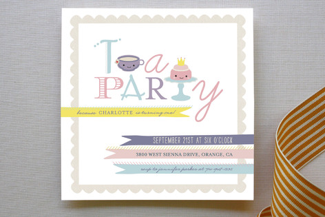 Teapography Party Children's Birthday Party Invitations