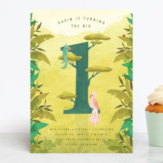 Jungle One Children's Birthday Party Invitations