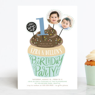 Cupcake Topper Children's Birthday Party Invitations