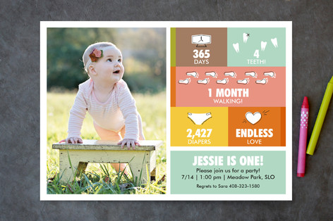 Mid-Mod First Facts Children's Birthday Party Invitations