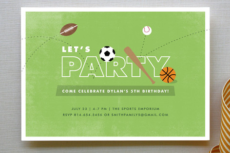 The All-Star Children's Birthday Party Invitations
