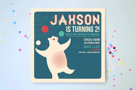 Circus Circus Children's Birthday Party Invitations