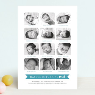 12 Months Children's Birthday Party Invitations
