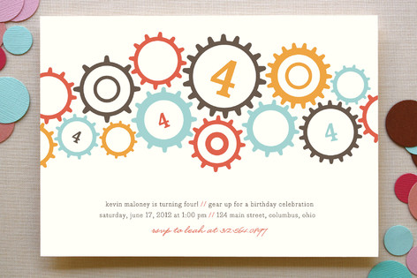 gears Children's Birthday Party Invitations