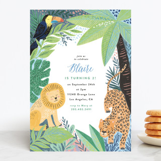 Jungle Animal Sketchbook Children's Birthday Party Invitations