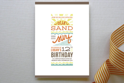 Sun Sand Surf Children's Birthday Party Invitations
