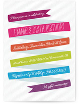 Whimsical Ribbon Children's Birthday Party Invitations