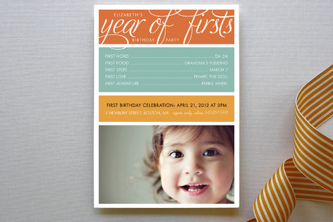 A Year of Firsts Children's Birthday Party Invitations