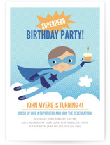Super Birthday Boy Children's Birthday Party Invitations