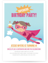 Super Birthday Girl Children's Birthday Party Invitations