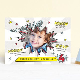 Comic Superhero Children's Birthday Party Invitations