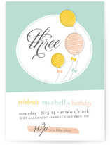 Balloons &amp; Bows Children&#039;s Birthday Party Invitations