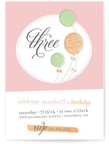 Balloons & Bows Children's Birthday Party Invitations