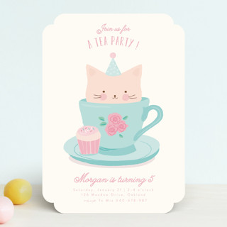 Teacup Kitten Children's Birthday Party Invitations