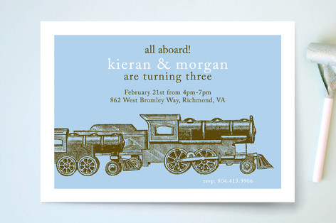 Antique Train Children's Birthday Party Invitations