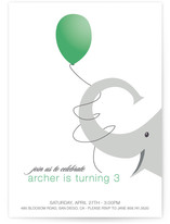 Elephant Balloon Children&#039;s Birthday Party Invitations