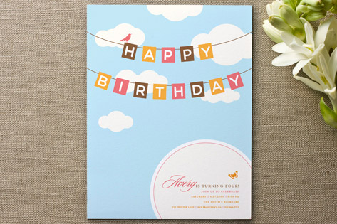 Blueskies Children's Birthday Party Invitations