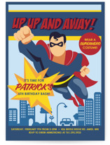 Up, Up and Away - Superman Children's Birthday Party Invitations