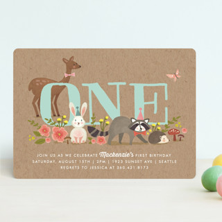 Woodland Celebration Children's Birthday Party Invitations