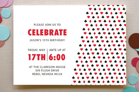 Playing Cards Childrens Birthday Party Invitation Minted