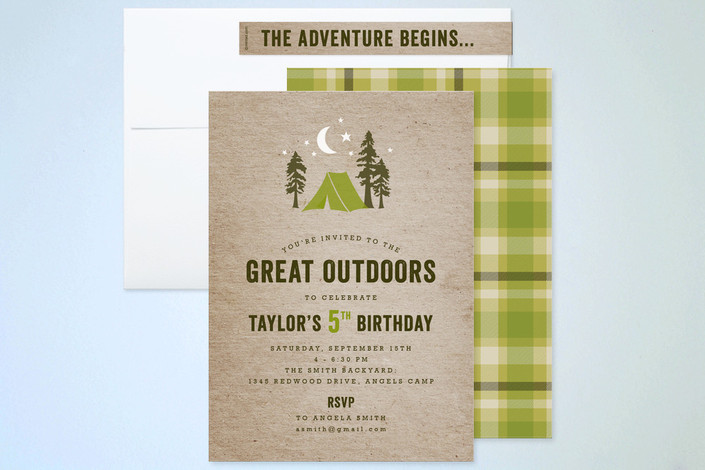 Campsite Kids Party Invitations