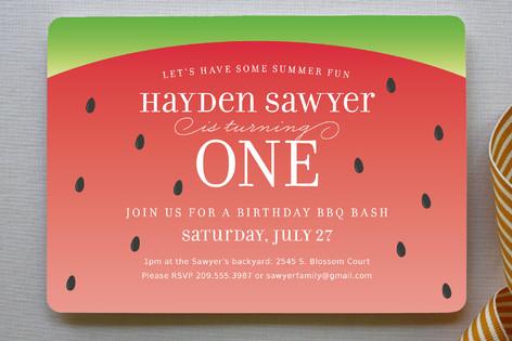 watermelon children s birthday party invitations minted