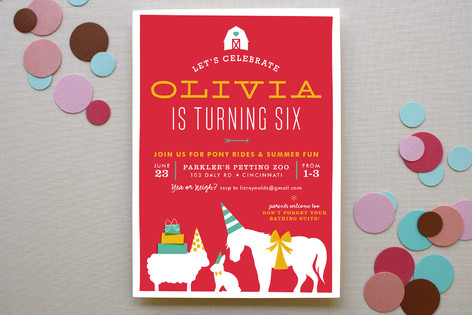 farm party children s birthday party invitations minted