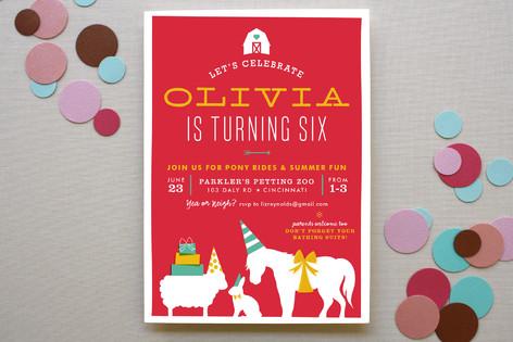 Farm Party Children's Birthday Party Invitations