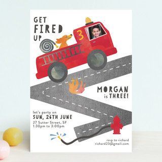Little Fireman Children's Birthday Party Invitations
